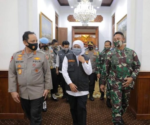 Wakapolri, KASAD Jenderal TNI Andika Perkasa dan Gubernur Jawa Timur