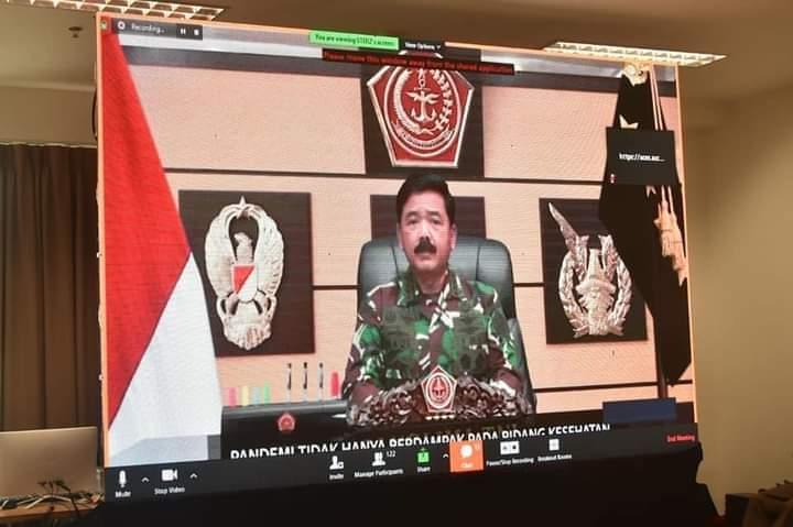 Panglima TNI Marsekal TNI Hadi Tjahjanto, S.I.P. dalam amanatnya pada acara Komunikasi Sosial TNI-Polri dan aparat Pemerintahan tahun 2020